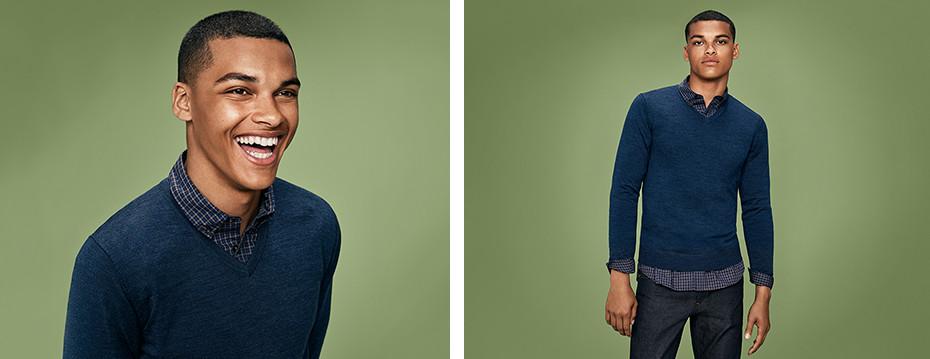 EFM V넥 스웨터 (긴팔)
