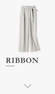 RIBBON 하이웨이스트리본와이드팬츠