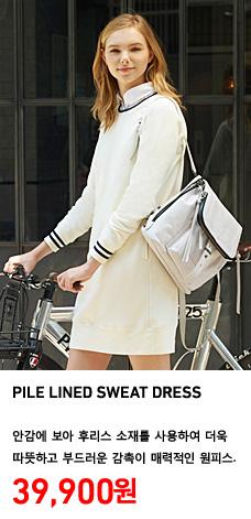 WOMEN PILE LINED SWEAT DRESS 정상가격 39,900원