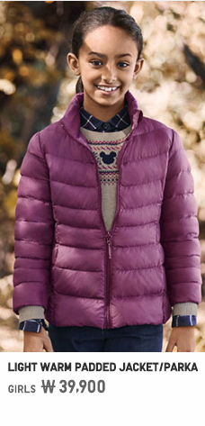 GIRLS LIGHT WARM PADDED JACKET/PARKA
