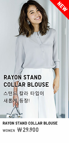 WOMEN RAYON STAND COLLAR BLOUSE