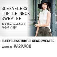 WOMEN SLEEVELESS TURTLE NECK SWEATER